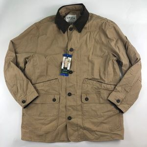 ORVIS Button Up Tan Barn Jacket Quilt Lined Large